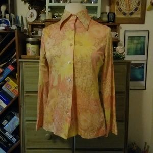 Sunny 1970s polyester floral disco shirt
